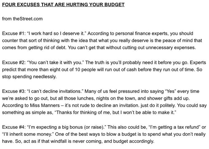 [FRESH MONEY] FOUR EXCUSES THAT ARE HURTING YOUR BUDGET according to #FreshBreakfast Photo