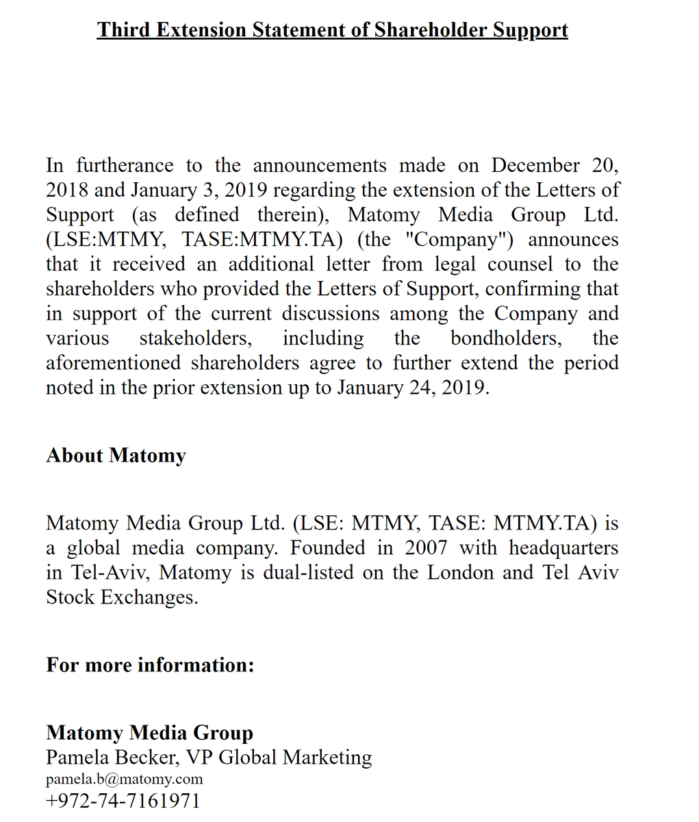 #LOOKING #HOT #Matomy #Media #Group #MTMY  Third Extension Statement of Shareholder Support RNS Number : 1128N Matomy Media Group Ltd 15 January 2019