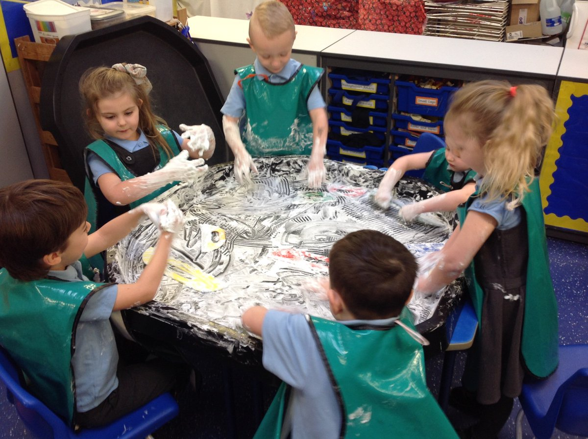 Reception class - having lots of fun with messy play! Sorry mums and dads!😀