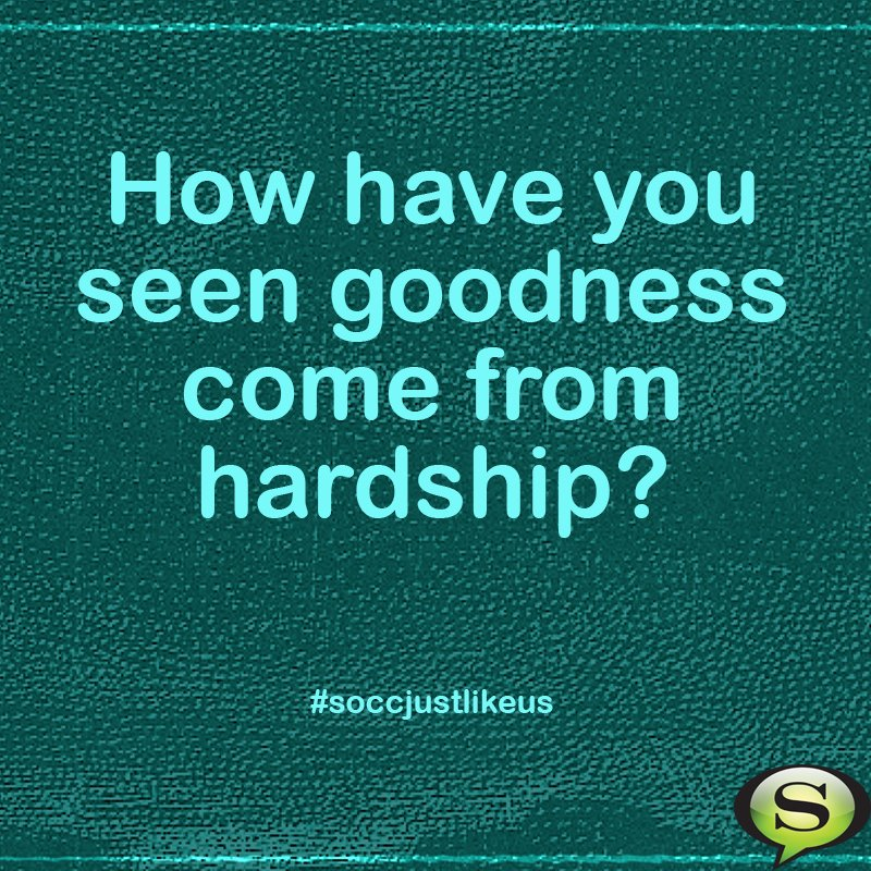 Week two: How have you seen goodness come from hardships? https://t.co/5vNaWwJY33