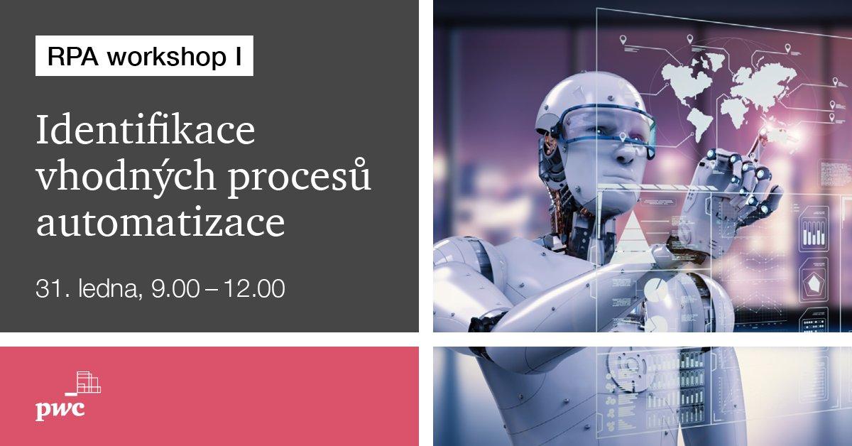 #RPA je podle 51 % českých #CEOs nejvýznamnější #technologie příštích 3–5 let. Během 6 workshopů vás provedeme cestou RPA, od prvotní analýzy až po implementaci. Začínáme 31. ledna identifikací vhodných procesů pro #automatizaci. Přidejte se i vy na