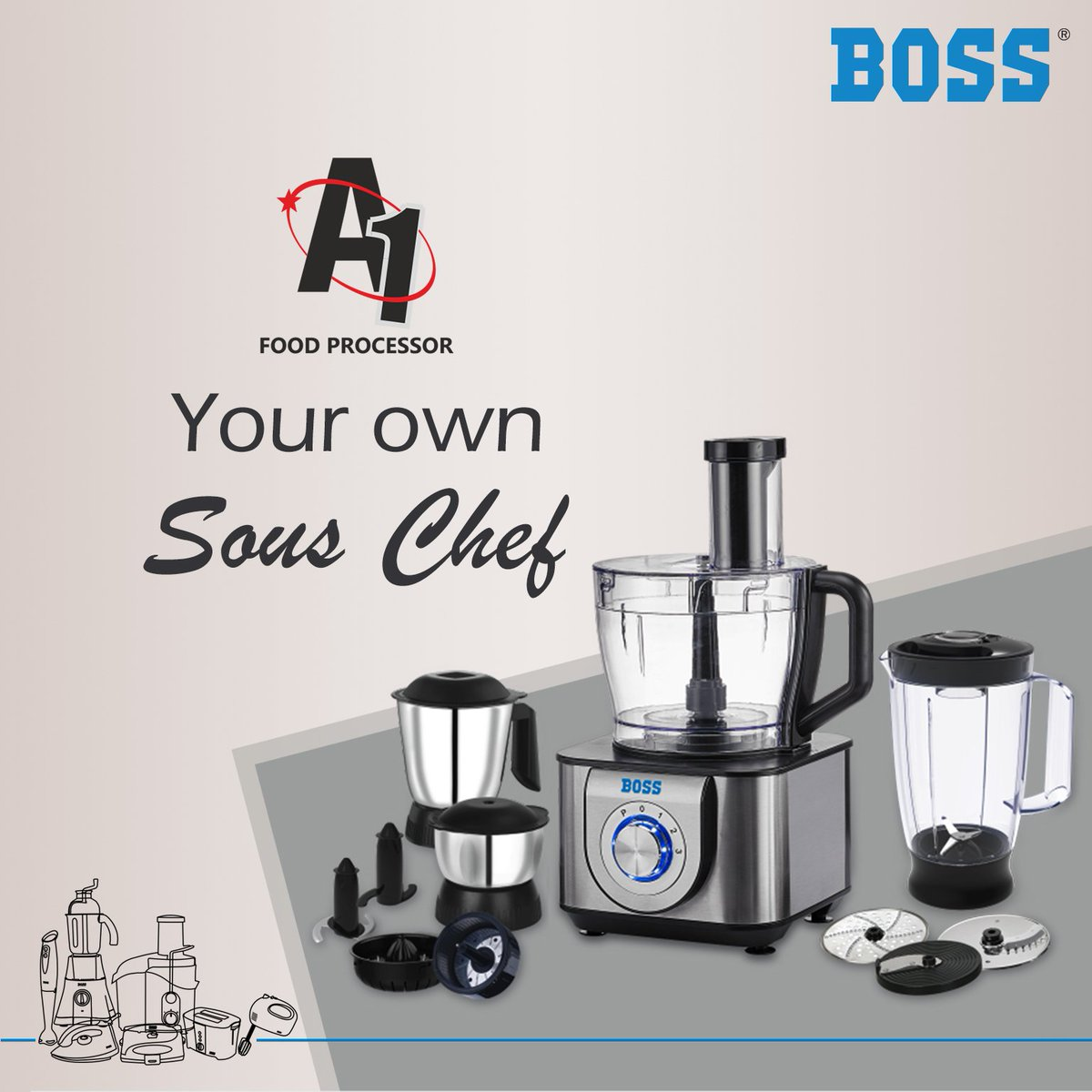 15-IN-1 Multi-functional Boss A1 Food Processor can grind, blend, juice, shred, knead, chop and a lot more – all in one!  Buy now: http://bit.ly/A1FoodProcessor  #BOSSA1FoodProcessor #Chopping #Mincing #Juicing #Kneading #Blending #Versatile #KitchenCompanion #BOSSHomeAppliances