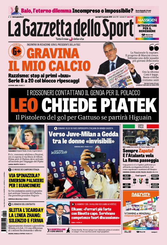 #Buongiorno! Your front pages for Tuesday's Italian sports papers in English: https://www.football-italia.net/todayspapers/133272?mobile=off… #Balotelli #FIGC #ACMilan #Genoa #Piatek #Higuain #Juventus #CFC #Supercoppa #JuveMilan #FCIM #CoppaItalia #Alibaba #Lazio #Fiorentina #Arsenal #AFC