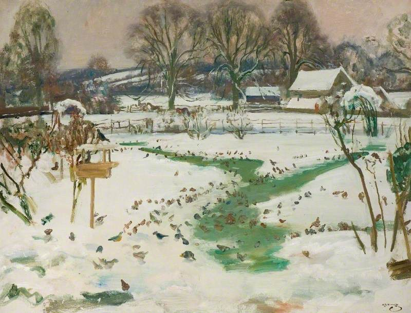 A Winter Scene at Castle House, Dedham, with Birds Feeding by Alfred Munnings c. 1943 (@AlfredMunnings). Essex. <br>http://pic.twitter.com/jcRqdc2Q1F