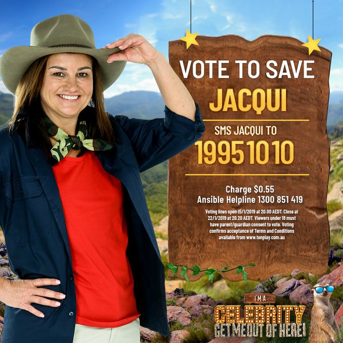 For those of you asking why Jacqui is in the jungle, it's to raise money for @TeamRubiconAus . Every vote contributes to this fantastic cause and keeps Jacqui in the jungle… SO GET VOTING! SMS JACQUI to 19951010! #ImACelebrityAU #CelebJacqui Photo