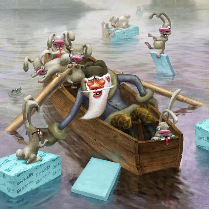Зайцы в лодке картинка