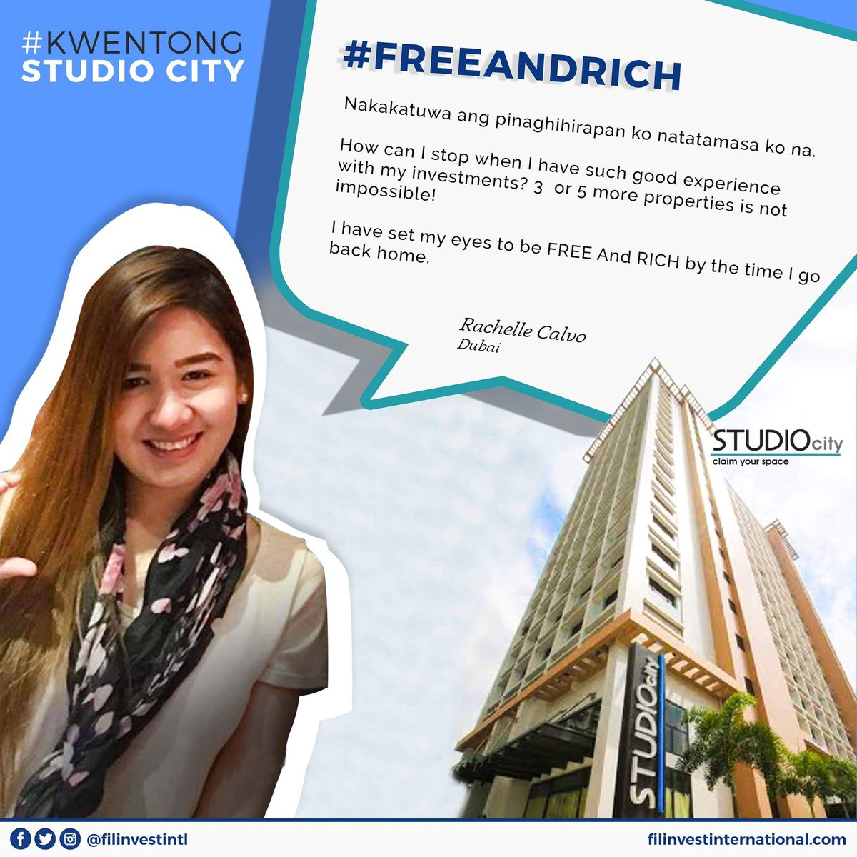 """""""I have set my eyes to be FREE and RICH by the time I go back home.""""   -Rachelle Calvo 