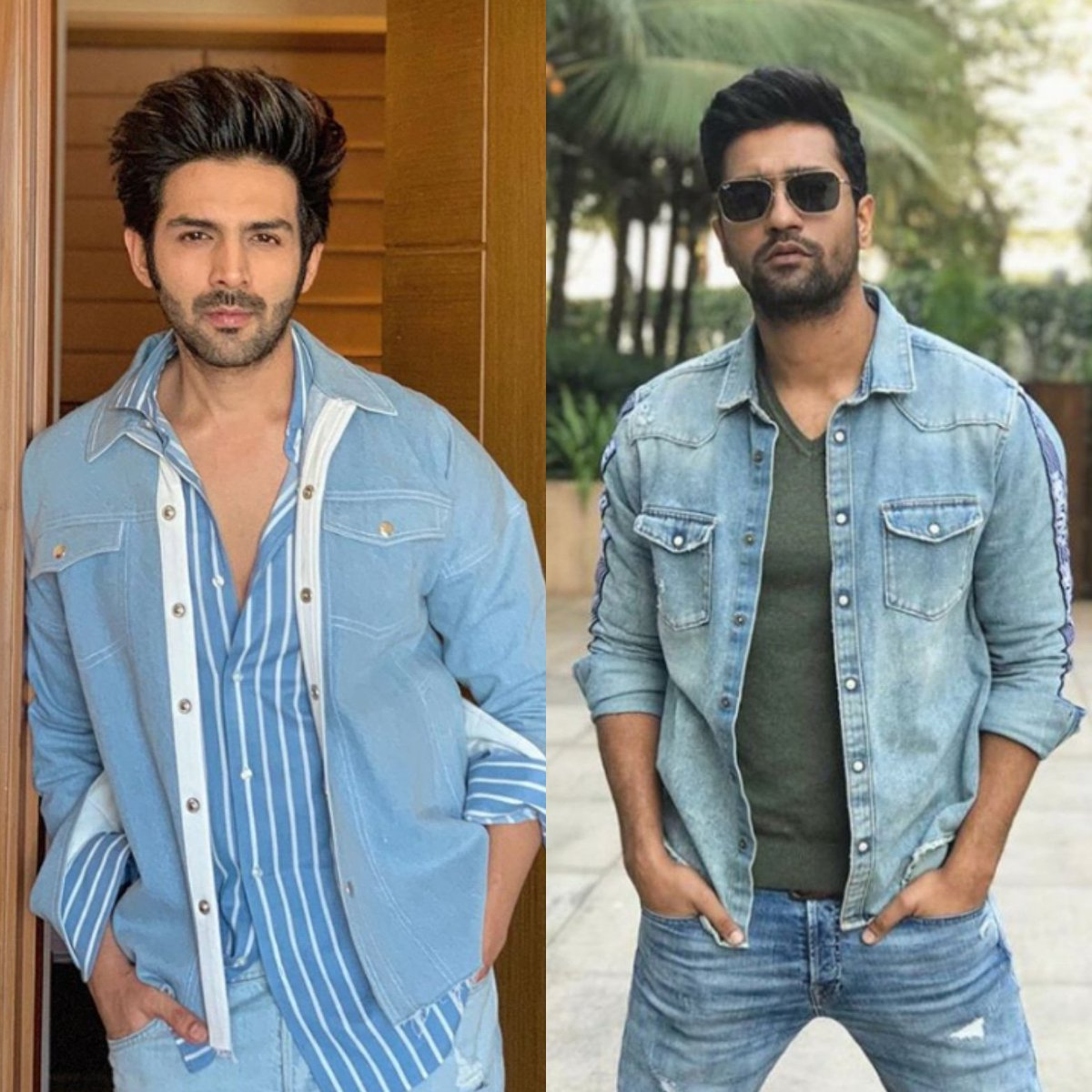 @TheAaryanKartik and @vickykaushal09 look effortlessly hot while casual in denim on denim.🔥💯 But who wore it better? Comment either 1 or 2.   #ErosNow | #VickyKaushal | #KartikAaryan |#Bollywood | #BollywoodActor | #DenimOnDenim