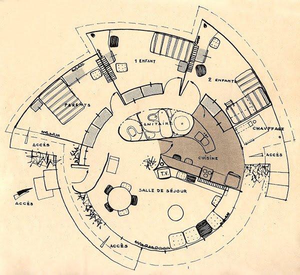 Maison en plastique - Ionel Schein, 1956 Maison escargot: Ionel Schein , Yves Magnant , René-André Coulon. Scan du magazine Elle n°530 et n°531 - Février 1956. Foto
