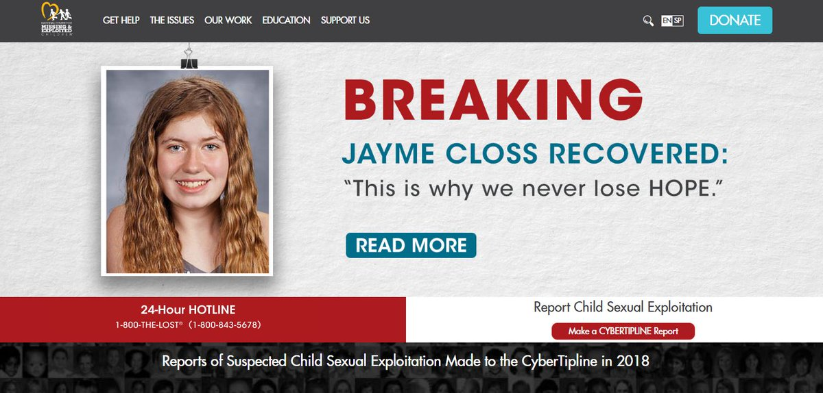 NEW THIS MORNING: We speak to the NCMEC (@MissingKids) about how the #JaymeCloss case is renewing hope for other families with missing children. This is what the agency&#39;s home page shows right now. The story coming up on @WISCTV_News3.<br>http://pic.twitter.com/q0UDuHJkcw
