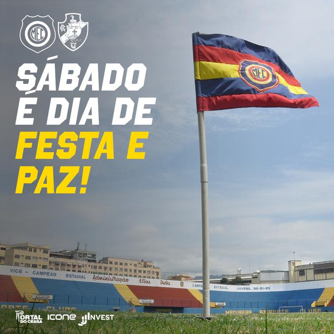 Depois de quase 5 anos, vamos receber novamente o Vasco em Conselheiro Galvão e queremos fazer desta partida uma grande festa do futebol carioca em Madureira! Para isso, esperamos uma linda festa das duas torcidas na arquibancada, sempre na paz #FestaEPaz #PazNoFutebol Foto