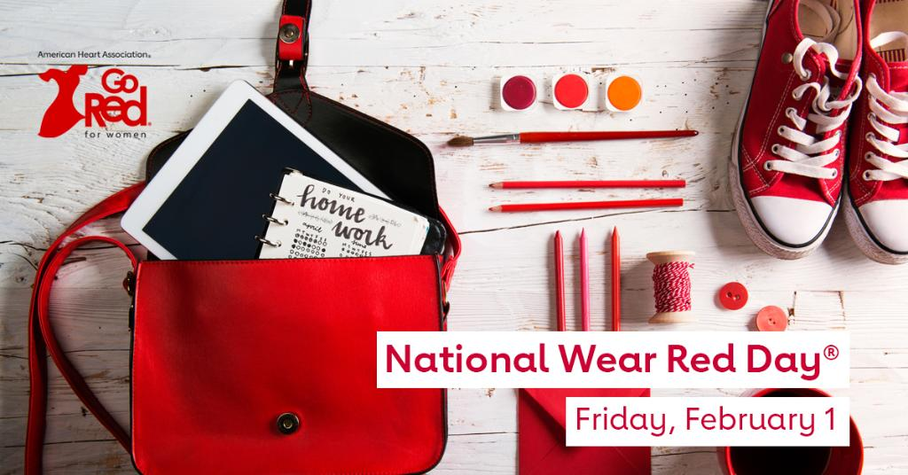 Get #red-y for National #WearRedDay® on Friday, Feb. 1. Join us as we raise awareness about cardiovascular disease and save lives. Because when we come together, there's nothing we can't do. #WearRedAndGive