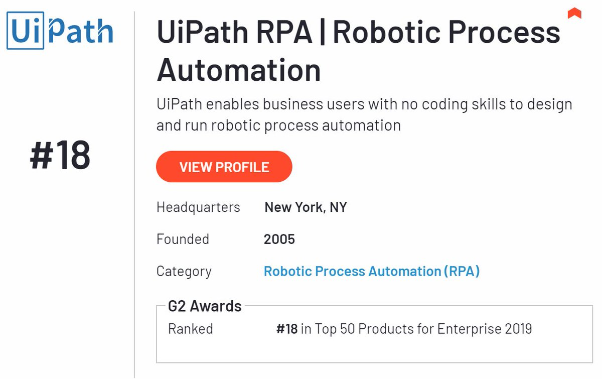 We've made it into TOP50 Enterprise Software in 2018 #G2awards +Top 100 Software Companies and Top 100 Software Products @UiPath @G2Crowd