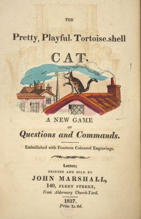 #BLCats visitors: have you seen this game called 'The Pretty, playful, tortoise-shell cat'? Other games published in the 19th century include 'The Hopping, prating, chatt'ring magpie' and 'The Gaping, wide-mouthed, waddling frog'. https://t.co/ETBd8fRRe2