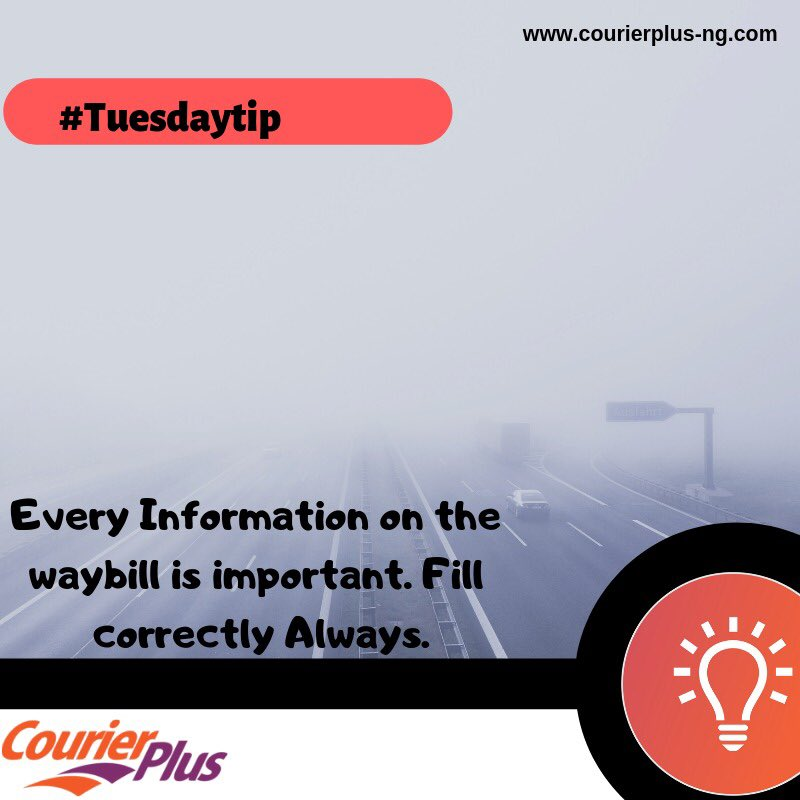 Fill your waybill with the correct information,Always.  #cplusquotes #deliveryinnigeria #courierplus #tuesdaytips