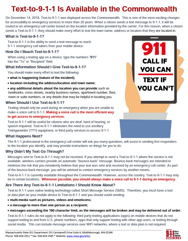 MASSACHUSETTS FRIENDS &amp; VISITORS:  In MA you can now text 911 in situations where you can&#39;t safely call!!   Include: What is happening Location &amp; area description  Avoid: Multi-media Multiple recipients Texts over 160 characters  Please spread this info, it could save a life!! <br>http://pic.twitter.com/fkJBMUX12A
