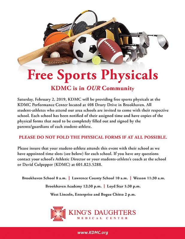 """sports physical form mississippi  KDMC Brookhaven, MS on Twitter: """"Free Sports Physicals ..."""