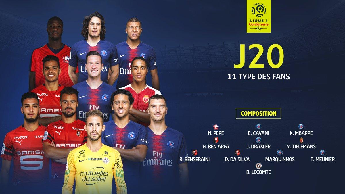5 joueurs du @psg 🔴🔵 3 joueurs du @staderennais 🔴⚫ 1 joueur du @losclive, de @MontpellierHSC et de l'@AS_Monaco 💥💥💥  Vous avez élu votre #11TypeFans de la 20e journée et il a plutôt fière allure 🙌