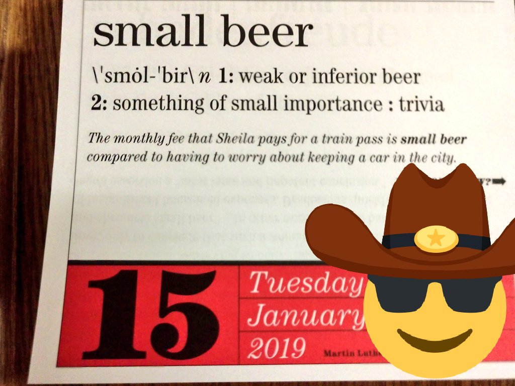RT @Afobos: Word of the day:  Small 🍺 Beer  Today is: National Hat Day🎩 https://t.co/kRAUr4r1MC
