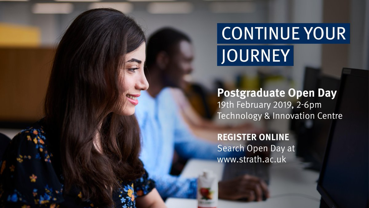 Join us at our Postgraduate Open Day on Tuesday 19 Feb, 2-6pm. Find out everything you need to know about postgraduate study at Strathclyde. Register your place on our website: http://fal.cn/r1Qh  #strathlife