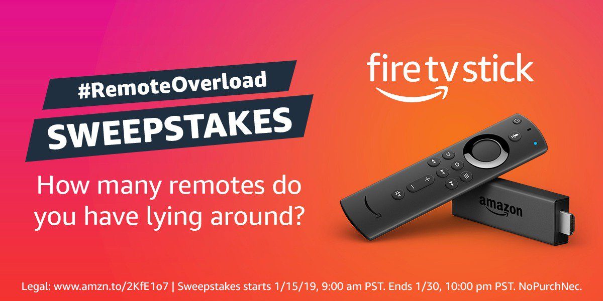 Fire TV wants to help with #RemoteOverload.   Reply with the number of remotes you have & #sweepstakes to enter for your chance to win a Fire TV Stick, now with power & volume control. Follow @amazonfiretv, they will DM 10 lucky winners.  Learn more: https://amzn.to/2FxqZiK