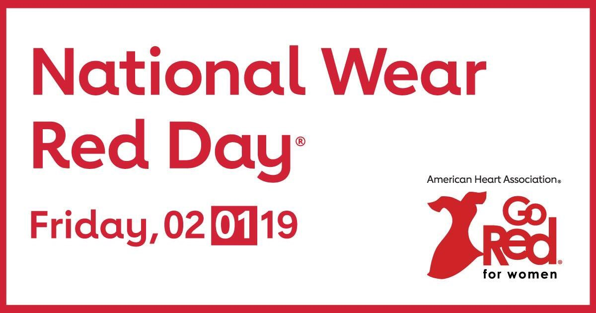 National Wear Red Day is Friday, February 1st. Wear red to raise awareness about cardiovascular disease and save lives! #wearredday #wearredandgive