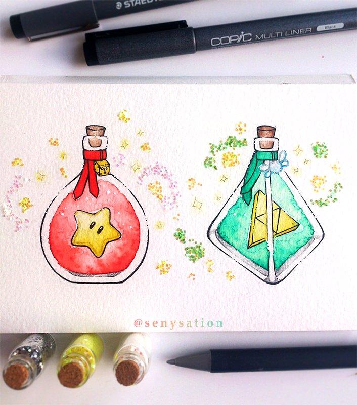 #SuperMario or #TheLegendofZelda potion? Choose one! (I&#39;d definitely choose the Triforce :D) <br>http://pic.twitter.com/kSeMHtJvVz