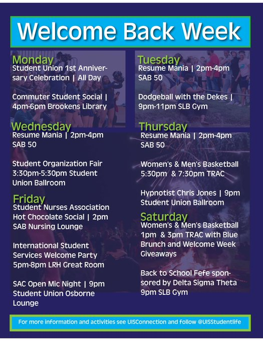 RT @uisstudentlife: Welcome Back Week continues today with @UISCareerCenter Resume mania 2-4pm, Dodgeball with the Dekes in SLB Gym at 9, a…