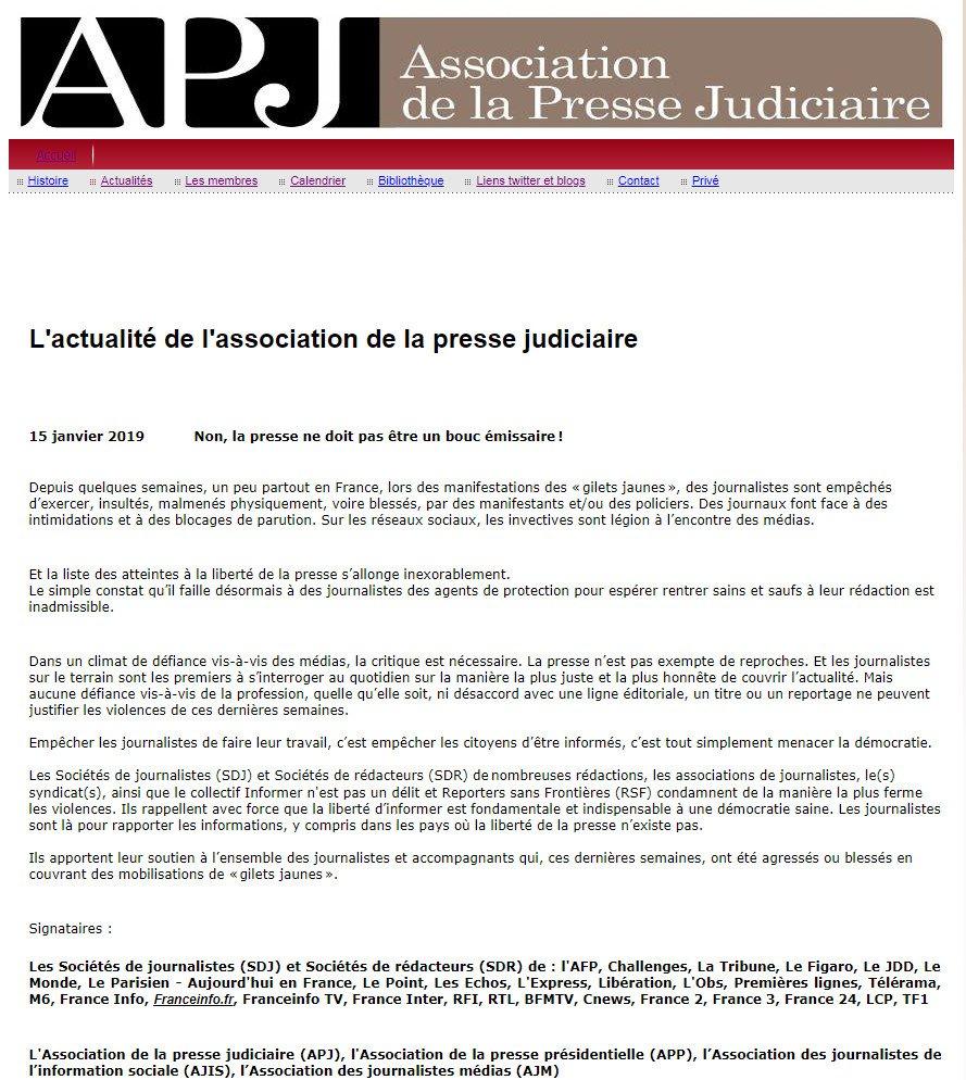 Non, la presse ne doit pas être un bouc émissaire!   La liste des atteintes à la liberté de la presse s'allonge inexorablement.  La @PresseJu est signataire, aux côtés d'une trentaine de sociétés de journalistes, d'associations et de syndicats :  http://pressejudiciaire.fr/2.html