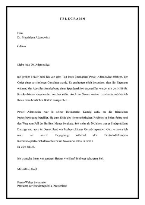 Prezydent federalny Frank-Walter #Steinmeier przekazał pani Adamowicz list kondolencyjny. Ja również wyraziłem moje współczucie w związku z zabójstwem @AdamowiczPawel @gdansk Foto