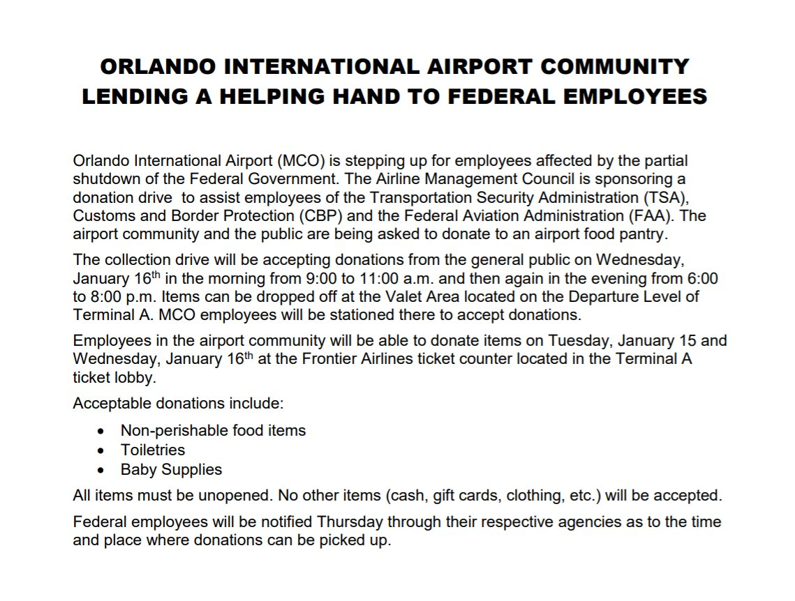 Orlando International Airport officials announced just now they're  planning a food drive to help federal workers there affected by the shutdown.   Here's a full statement from the Greater Orlando Aviation Authority: