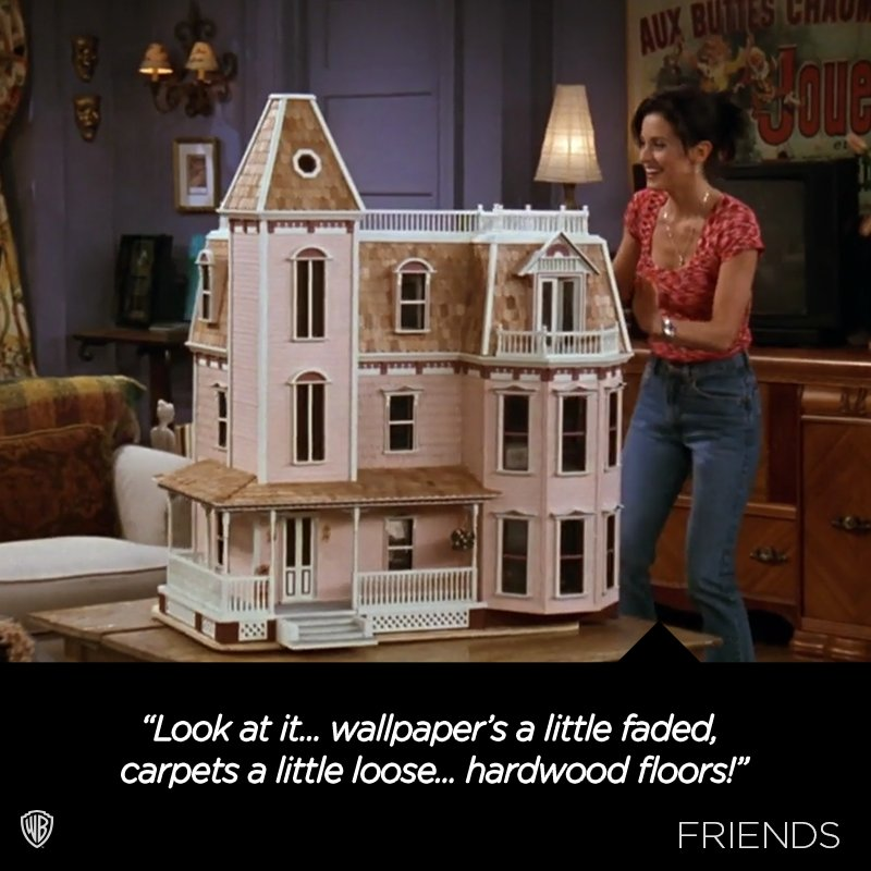 Monica and her new dollhouse.