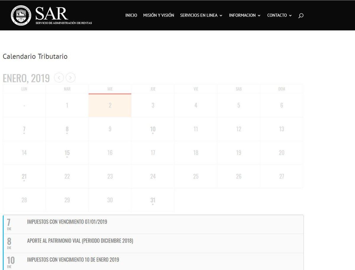 Calendario Fiscal 2019 Honduras.Sar On Twitter Consulte Cada Mes El Calendario Tributario