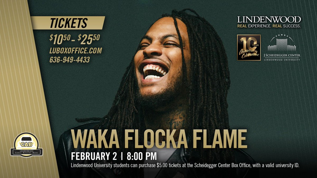 Also on sale, tickets to @WakaFlocka on Feb. 2! This concert is part of our inaugural #OneRoar Series here at @LindenwoodU. Tickets range from $10.50 - $25.50, student tickets are available for just $5.00!