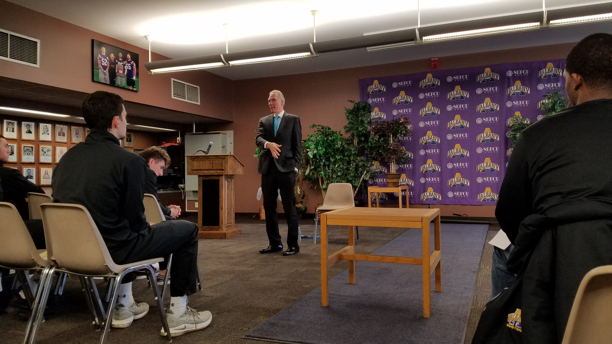 "UAlbany Basketball on Twitter: ""Today we welcomed Daniel P. Nolan, President and CEO of Hugh Johnson Advisors, LLC, to speak to the team, offering career ..."
