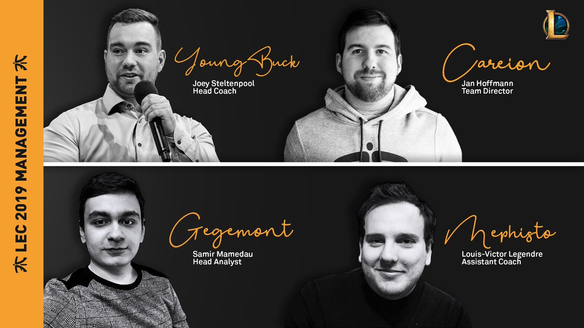 YoungBuck, Careion, Gegemont y Mephisto, nuevo equipo técnico de Fnatic en League of Legends. Fuente: https://twitter.com/FNATIC/status/1080901754114531328