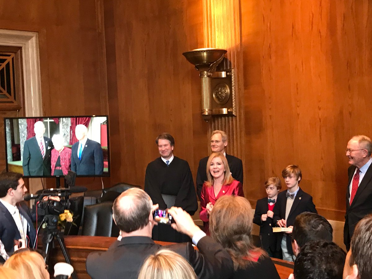 SPOTTED at the swearing-in ceremony for Sen. Marsha Blackburn (R-Tenn.) in 340 Dirksen: Justice Brett Kavanaugh. More in our PM Playbook 👉 https://politi.co/2BXQZk3