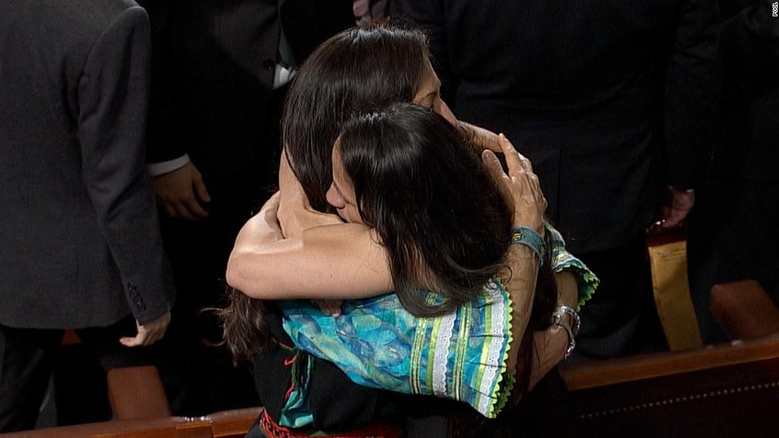 The first two Native American women elected to office share a hug after swearing-in https://t.co/0jDGM9LLaG