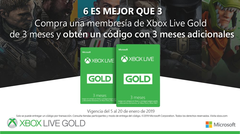 Xbox Mexico On Twitter Con Xbox Live Gold 6 Es Mejor Que 3
