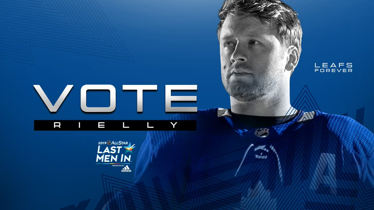 Last Men In voting is now open and you can help send @mriles4 to #NHLAllStar Weekend!  Cast up to 10 ballots per day through January 10 for Rielly, who leads all @NHL defencemen in goals this season.  Vote now >> http://nhl.com/vote | #LeafsForever