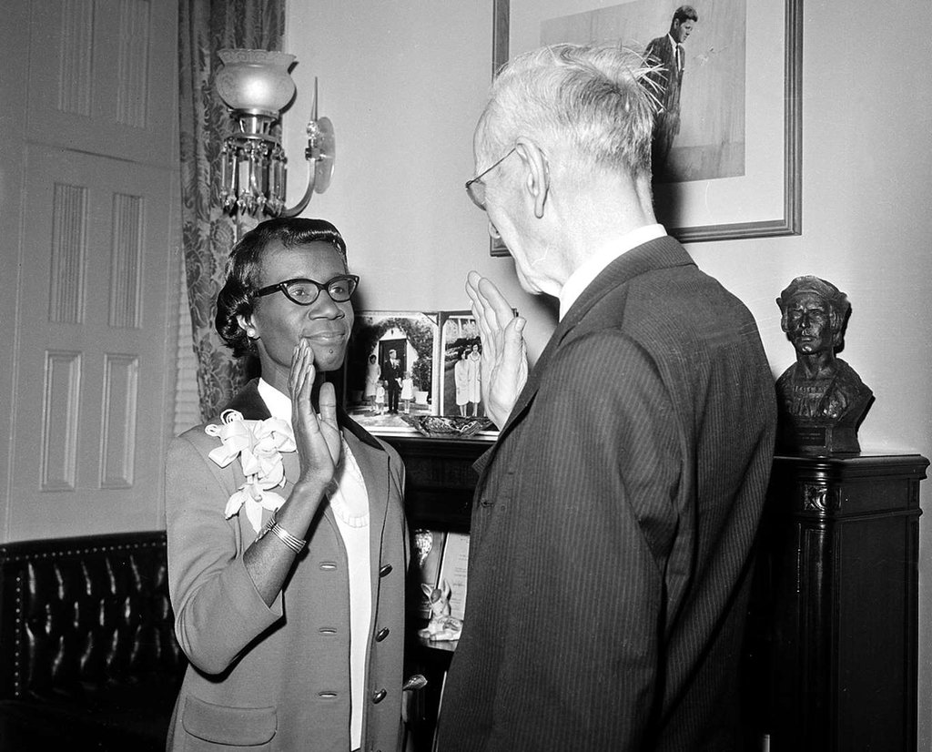50 years ago today, #ShirleyChisholm was sworn in as the first AA congresswoman. See how her historic win blazed the trail for the largest class of Congressional Black Caucus members today. -- http://botwc.co/2GVURrv