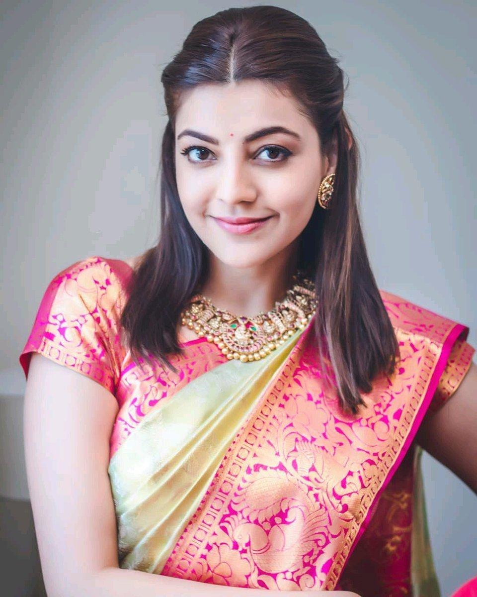 Her beauty is strangely various in a traditional look 😍 The Glamorous @MsKajalAggarwal 💕  #KajalAggarwal ❤️