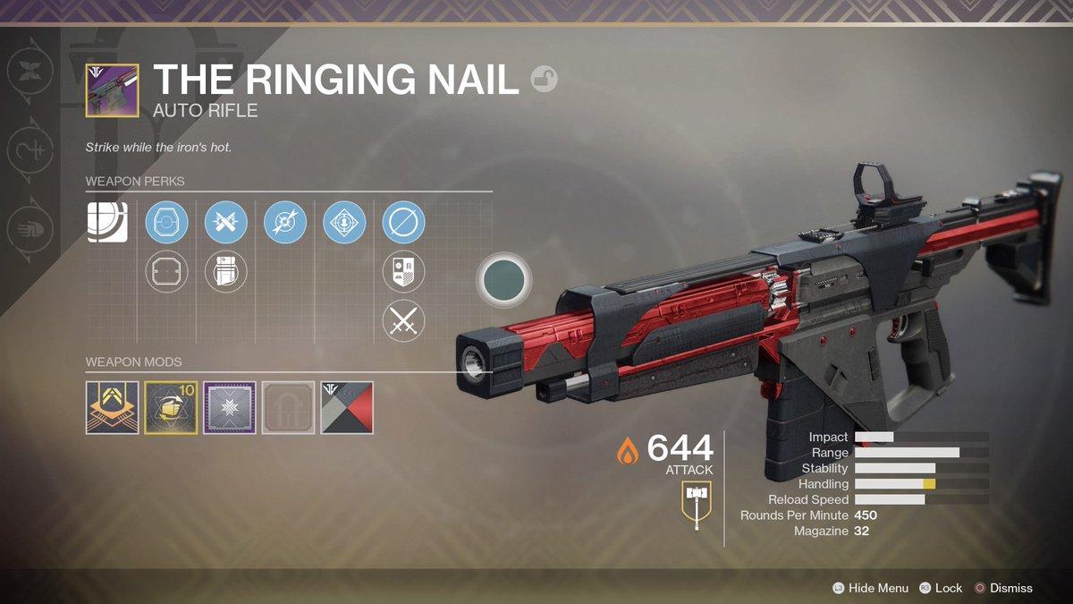 Destiny 2 The Ringing Nail God Roll