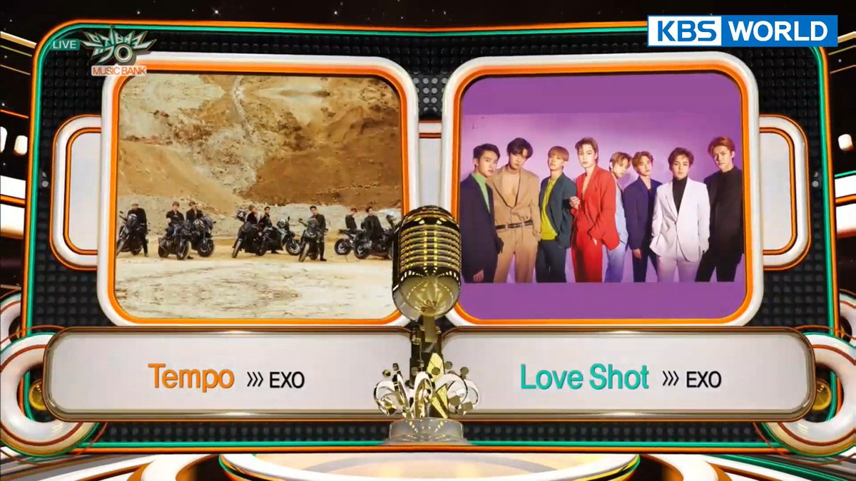 190104 | EXO's TEMPO & LOVE SHOT are nominated for No.1 on Music Bank  #EXO #EXO_TEMPO #LoveShot #러브샷 @weareoneEXO https://t.co/5YlqV0DSNU