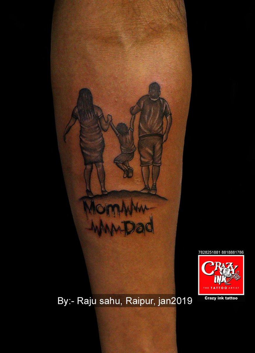 Gorgeous Design Mom Dad Tattoo Motive Done By Raju Sahu At Crazy