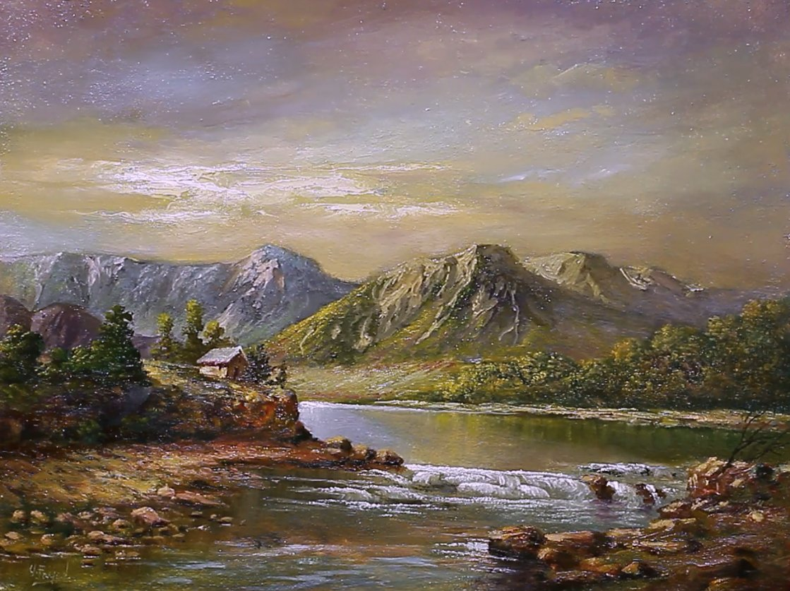 Oil Painting Landscape With Mountains + Lake By Yasser Fayad https://www.youtube.com/watch?v=8F9BlqhYw9Y…