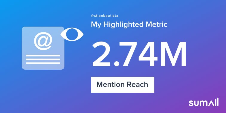 My week on Twitter 🎉: 113 Mentions, 2.74M Mention Reach, 518 Likes, 32 Retweets, 96.9K Retweet Reach. See yours with https://t.co/vgcw2lh6L8