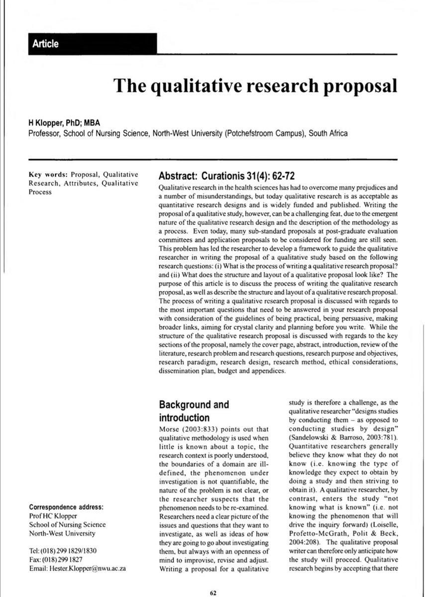 the qualitative research proposal klopper