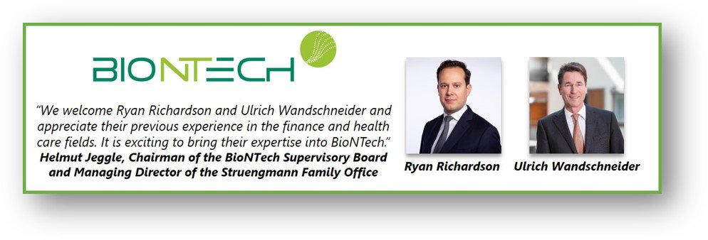 Biontech Se On Twitter We Also Extend A Warm Welcome To Ryan Richardson Who Will Join Our Team As Senior Vp Corporate Development Strategy Dr Ulrich Wandschneider Who Has Been