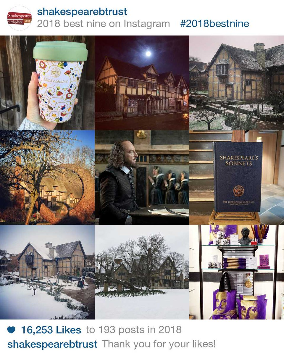 It's been quite a year for us, looking back at our #2018bestnine - https://bit.ly/2F8e2MV For those who don't already, you can follow us on Instagram too @shakespearebtrust and see what 2019 has in store.pic.twitter.com/qhAlKBrJm8